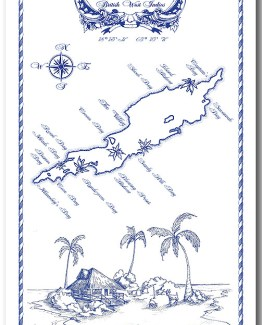 Anguilla Map Linen 100% Towel collectable by KiMAGIC