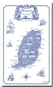 Grenada Map Linen 100% Towel collectable by KiMAGIC