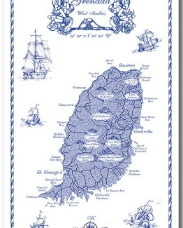 Grenada Map Linen 100% Towel collectable by KiMAGIC