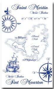 100% Linen Kitchen Tea Towel, St. Martin souvenir blue white, gift, boats, compass map