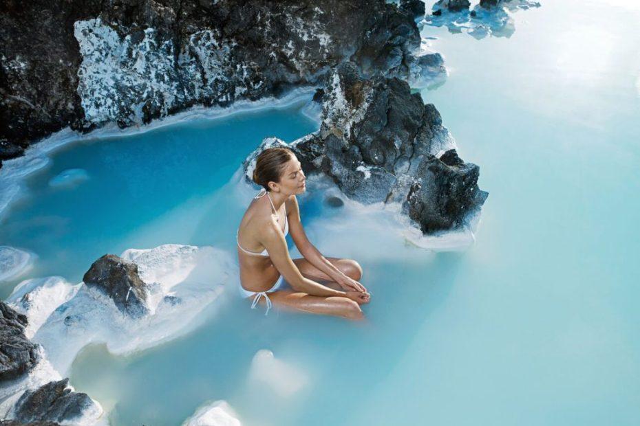 Woman in warm waters of Blue Lagoon