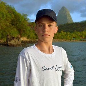 Saint Lucia Long Sleeve White t-shirt, Happy Barracuda 2019 edition