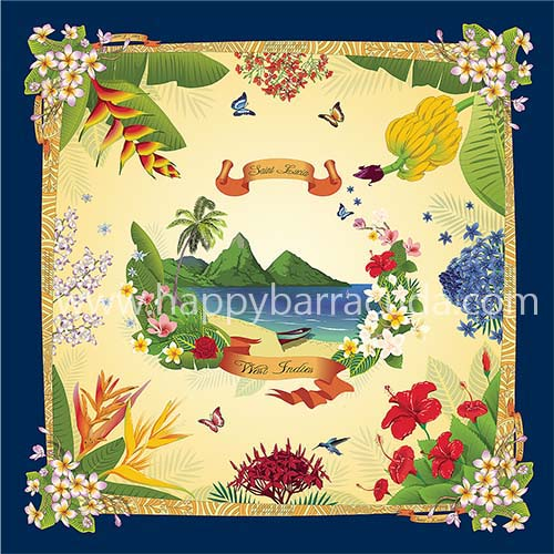 "Silk Scarf St. Lucia 35"" x 35"" 100% Silk; island gift, souvenirnavy, yellow, green, Pitons, flowers, banana, bird of paradise, hummingbird, heliconia"