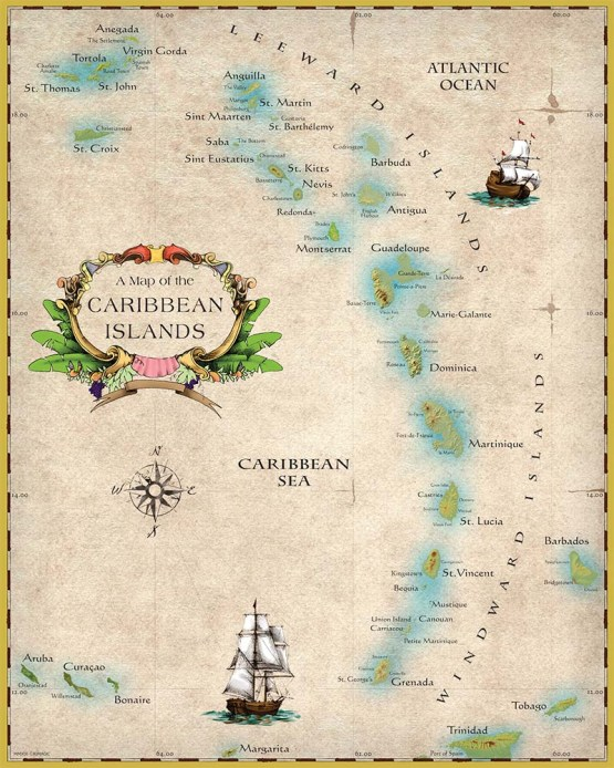 "Map of Caribbean Islands 16""x 20"" artistic collectible"