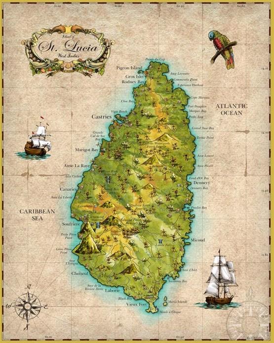 "Map of St. Lucia West Indies, 16"" x 20"" (40cm x 50cm)"
