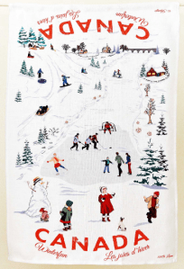 Canada Winter Hockey Fun linen tea towel