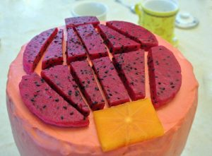 "Dragon Fruit cake with ""Lantern"" design"