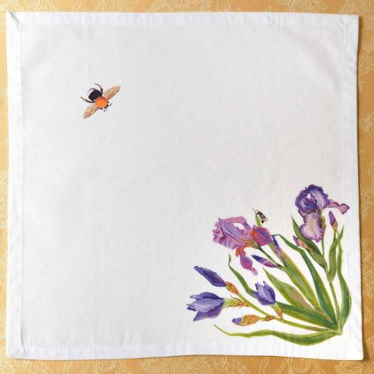 Linen Napkins Blue Irises Bees