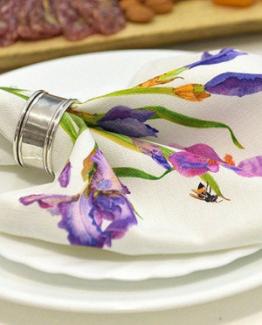 Linen Napkins Blue Irises