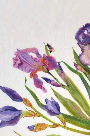 Linen Napkins Blue Irises Bees Detail
