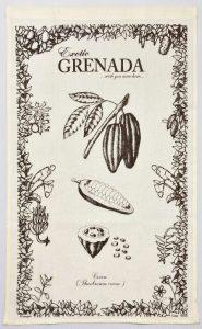 Linen Tea Towel Exotic Grenada Cocoa Chocolate plant seed pod
