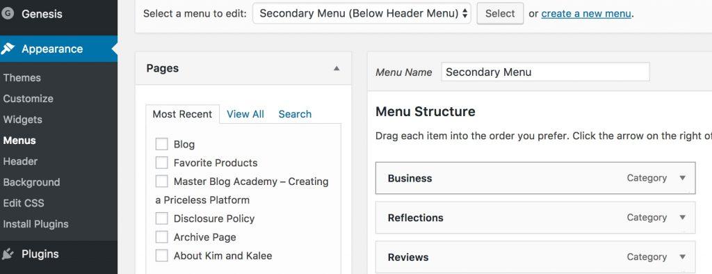 Adding Categories to Menu