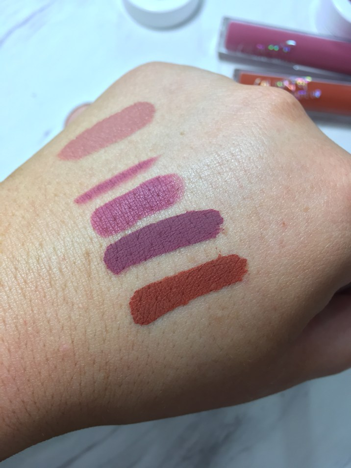 Colourpop lip swatches- Strip, Viper liner, Sauce, Viper, Mama