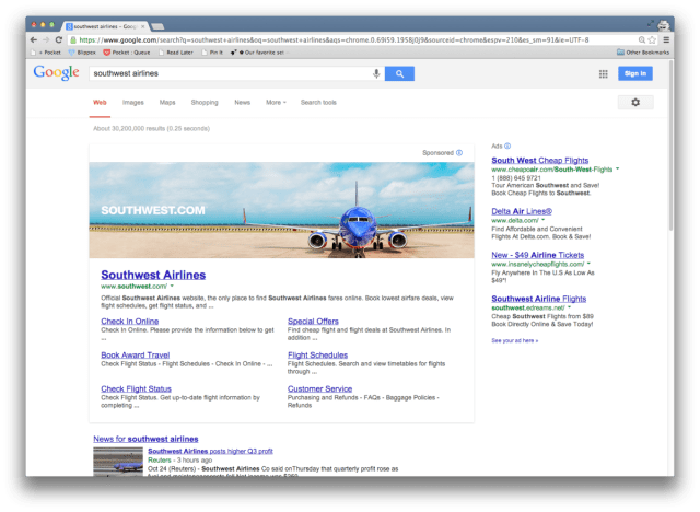 New Google search banner ads, credit to ArsTechnica