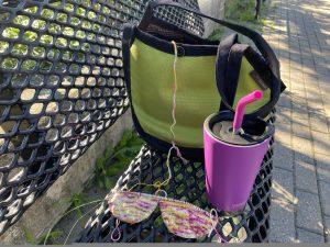 Knitting at the playground