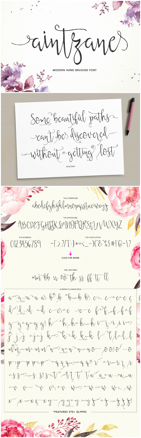 Favorite Fonts: Aintzane Font- Look at all the beautiful swashes this font comes with!