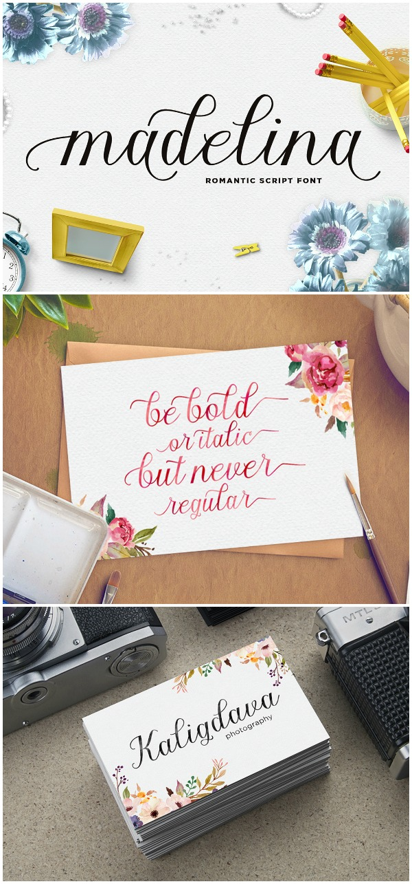 Favorite Fonts: Madelina Font. This font would cut really well in a Cricut or Silhouette CAMEO because the letters are delicate but thick enough to hold up well!