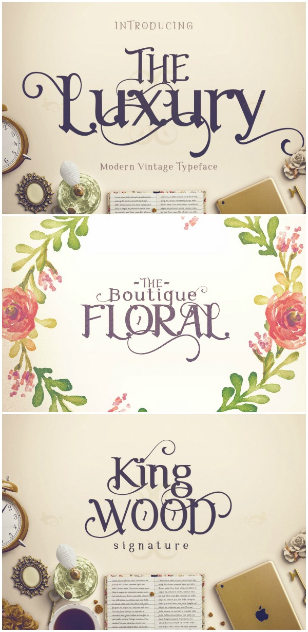 Font Favorites: The Luxury Font. This royal looking font is not only a great accent on projects, but also comes with over 900 glyphs to make it completely customizable to whatever you can dream up!