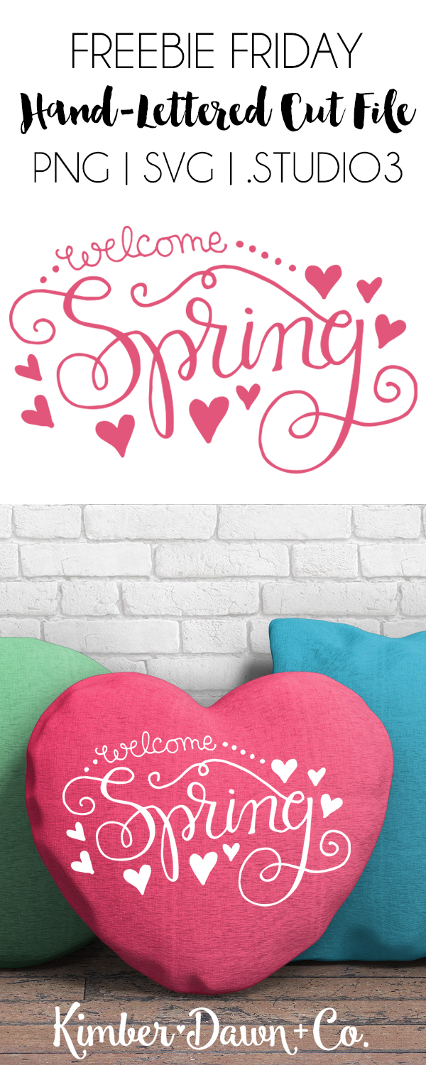 Hand-Lettered Hello Spring Free SVG Cut File | KimberDawnCo.com