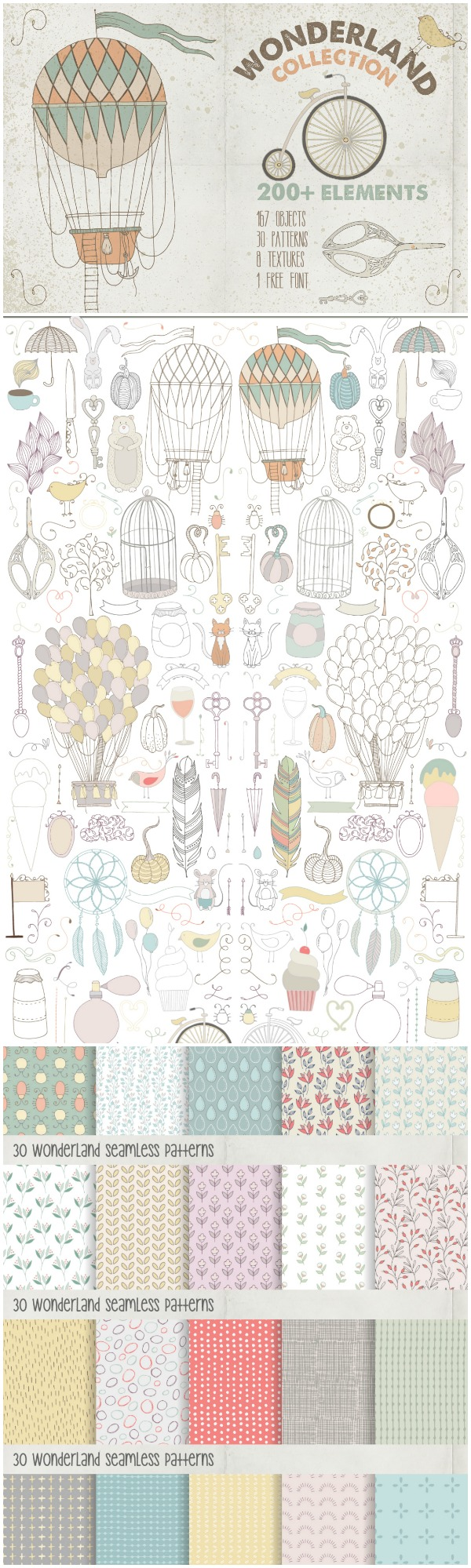 Design Favorites: Wonderland Clip Art Set- This set of whimsical clip art and digital paper is gorgeous and would make great baby shower decor!