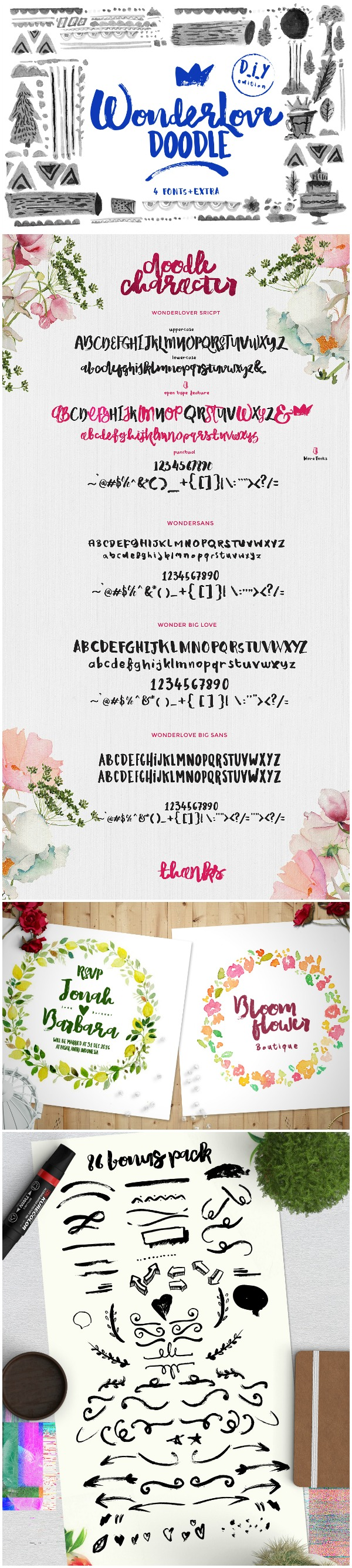Favorite Fonts: Wonderlove Font. This bold brush font makes casual look elegant!