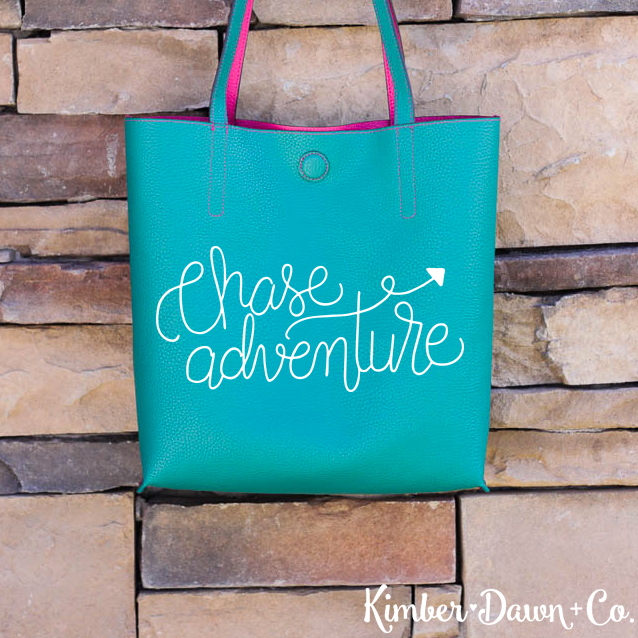 Chase Adventure Hand Lettered Free SVG Cut File available in SVG, PNG and STUDIO3 formats for use with your Silhouette or Cricut Cutting Machines! | KimberDawnCo.com