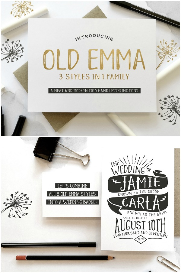 Old Emma Font - This font is great for projects that need something a little less feminine. Great for kids, mens, or informal design.