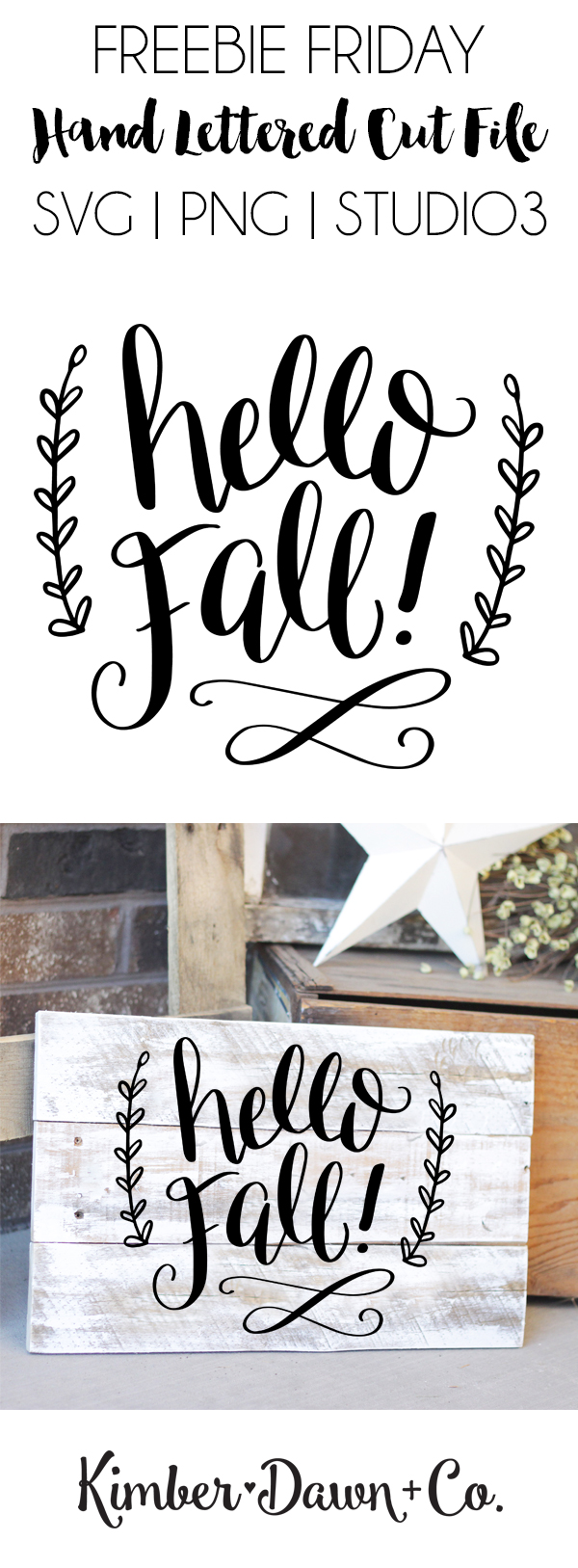 Freebie Friday! Hand Lettered Hello Fall Free SVG Cut File (PNG, Studio3) | DawnNicoleDesigns.com