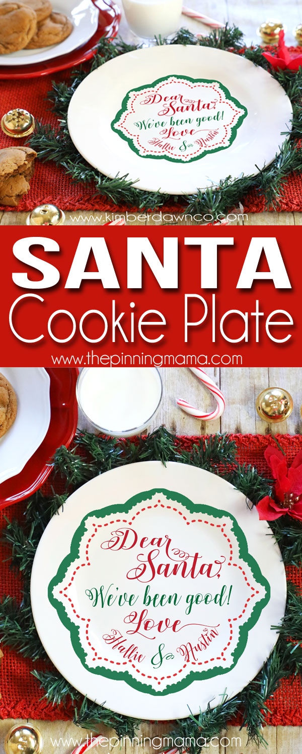 Free customizable Santa Cookies Plate Cut file - Download this free svg cut file to make a cute Christmas plate to leave cookies out for santa!
