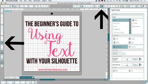 Where to find text tool in Silhouette CAMEO Studio