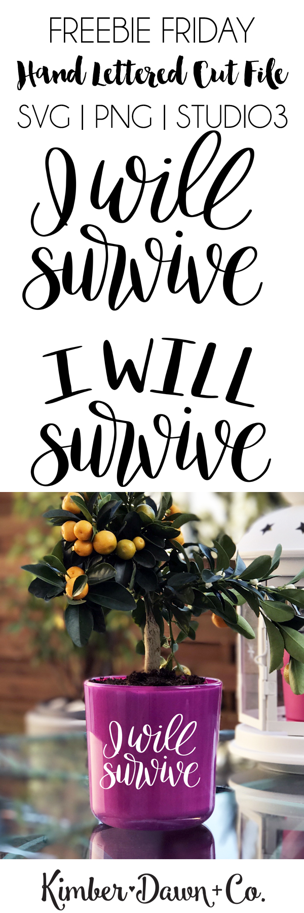 Hand Lettered I Will Survive Free SVG Cut File   KimberDawnCo.com
