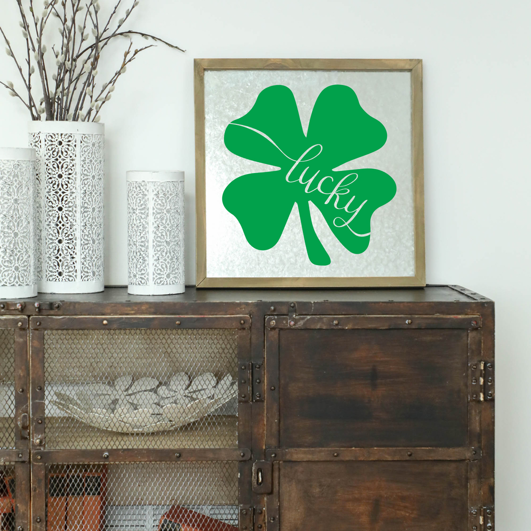 Hand Lettered Lucky Shamrock Free SVG Cut File
