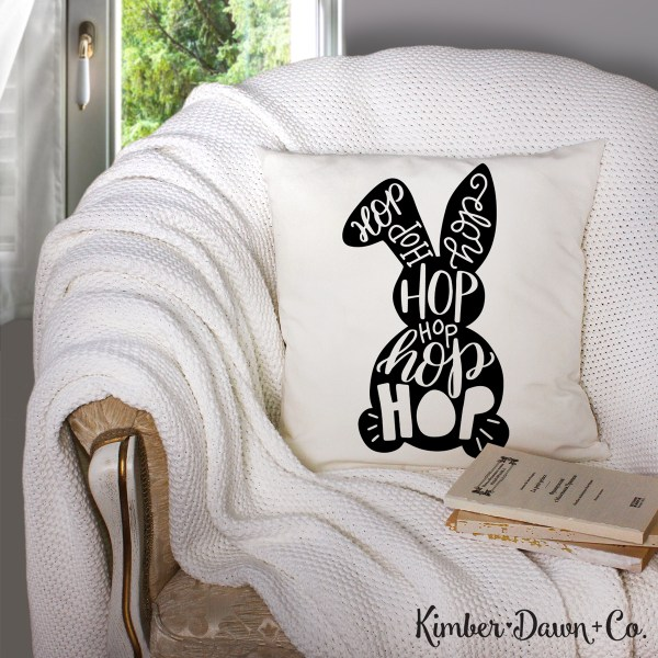 Hand Lettered Typographic Easter Bunny Free SVG Cut File