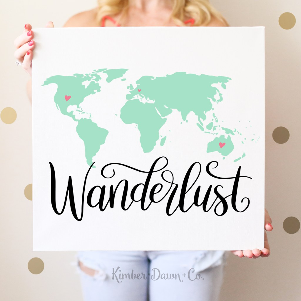 Hand Lettered Wanderlust World Map Free SVG Cut File