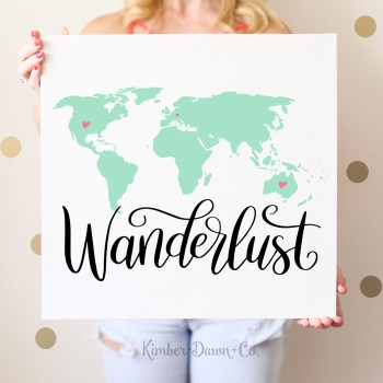 Hand Lettered Wanderlust World Map Free SVG Cut File | KimberDawnCo.com
