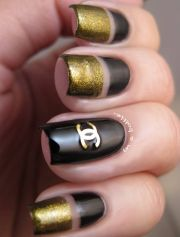 black and gold chanel decal nails