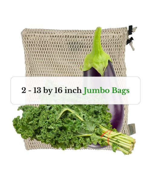 two 13 by 16 inch JUMBO SIZE organic cotton mesh reusable produce bags with kale greens and an eggplant