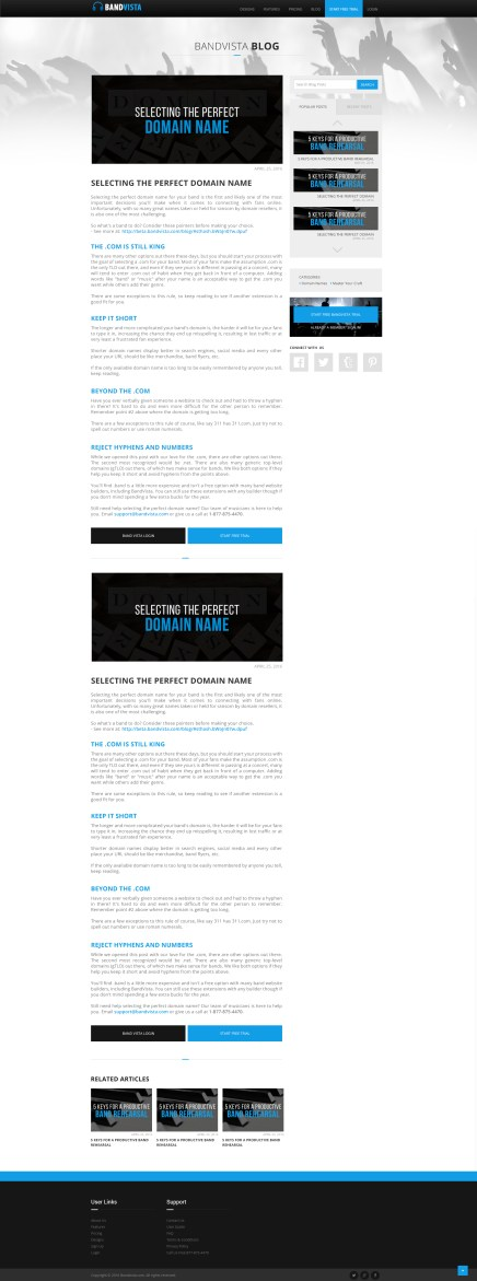 BandVista responsive blog design. http://bandvista.com/blog/