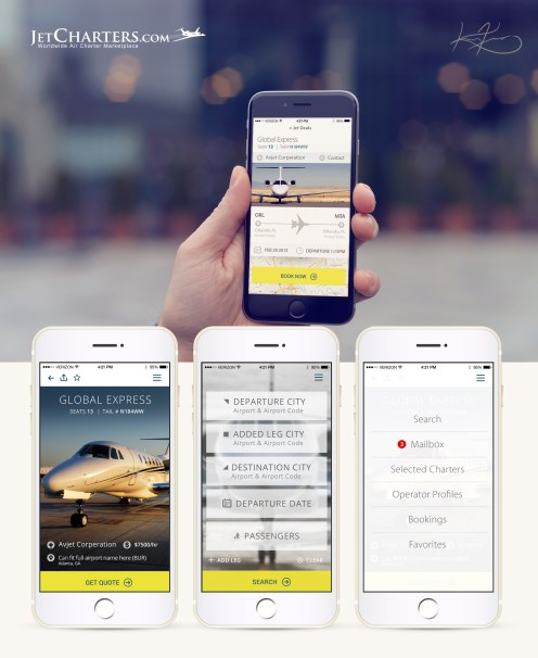 App design and user experience for JetCharters.com.
