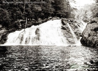 black and white, waterfall, river, landscape, summer, new hampshire, bristol, Kimberly J Tilley