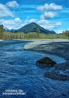 landscape, water, river, trees, mountain, sky, clouds, nature, outdoors, national park, washington