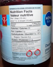 Loblaws PC Blue Menu Raspberry Jam - Nutrition Label