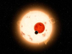 Kepler-16 orbits a slowly rotating K-dwarf that is, nevertheless, very active with numerous star spots. Its other parent star is a small red dwarf. (NASA/JPL-Caltech)