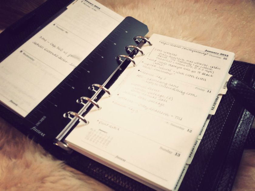 filofax - what's in my diary 2013 week on two pages