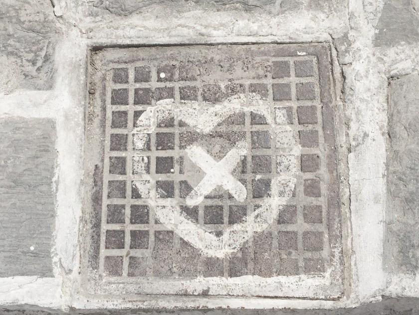 paros greece naousa square graffiti heart x
