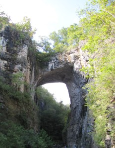 The stone Natural Bridge carved by nature