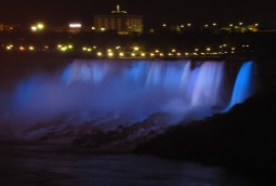 American Falls at Niagara illuminated blue