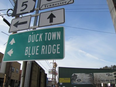 a street sign pointing out the intersection of Duck Town and Blue RIdge