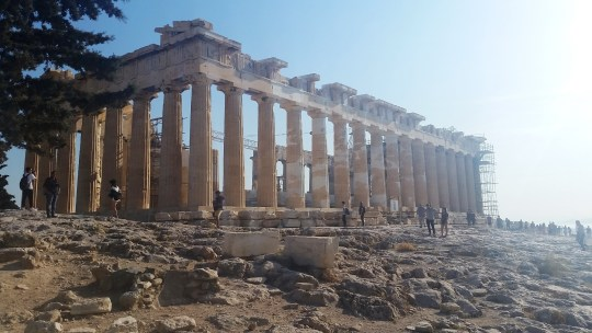 Very old, marble, iconic temple on the top of the Acropolis