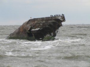 remnants of a concrete ship